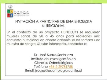Invitación a participar de ENCUESTA NUTRICIONAL